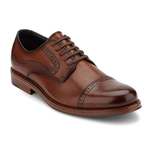 G.H. Bass & Co. Mens Tinton Leather Dress Cap Toe Oxford Shoe, Brown, 12 ()