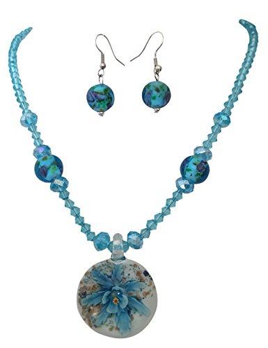 Blue Flower Murano Venetian Glass Beaded Pendant Necklace Earring (Swirl Glass Bead Earrings)