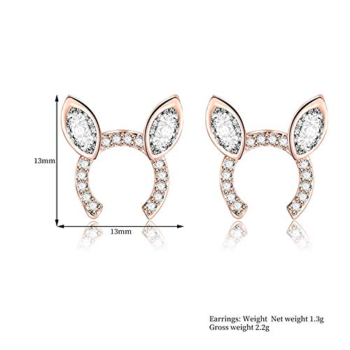 Topdo Stud Earringss Bunny Ears Earringss Simple Jewelry Gift for Women Girl 1 Pair