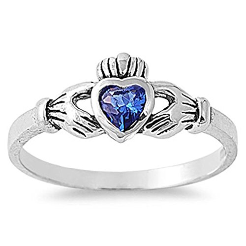 Sapphire Celtic Bands (925 Sterling Silver Claddagh Ring Bezel Set Heart Shape Simulated Blue Sapphire Celtic Wedding Ring)