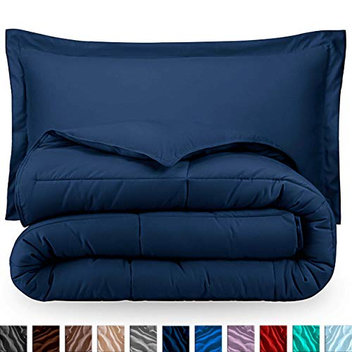 Bare Home Comforter Set – Full Size – Goose Down Alternative – Ultra-Soft – Premium 1800 Series – Hypoallergenic – All Season Breathable Warmth (Full, Dark Blue)