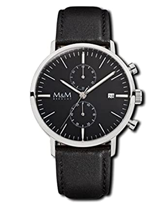 M&M Damen- und Herrenuhr Lederband M11911-445 Chronograph 198