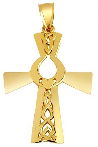 10 ct 471/1000 Irlandais-Or Croix Avec Claddagh Pendentif