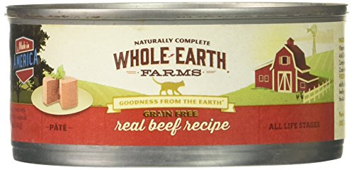 Whole Earth Farms 295253 Grain Free Real Beef Recipe Pâté Canned Cat Food, One Size