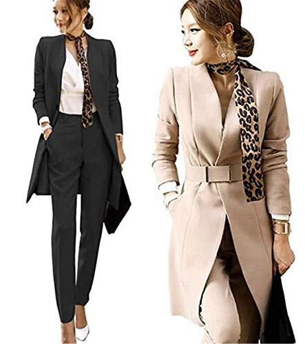 (OSEMALL Women Trench Open Front Longline Jacket Solid one Button Two Pieces Blazer Suit Khaki, Medium)