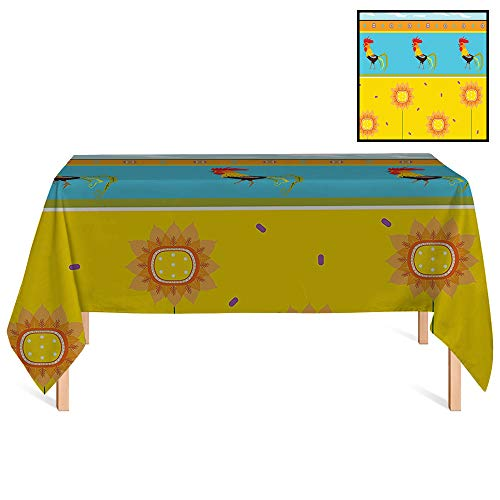 SATVSHOP Dust-Proof Table Cover /55x102 Rectangular,Gallos Rooster Pattern with Sunflowers Seasonal Summer Time Greenery Sky Floating Clouds Clipart.for - Clipart Wedding