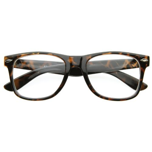 zeroUV - Vintage Inspired Eyewear Original Geek Nerd Clear Lens Horn Rimmed Glasses - To Where Find Glasses Clear