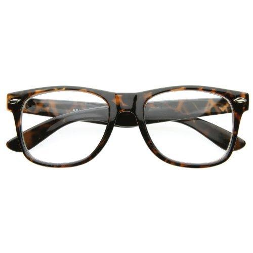 zeroUV - Vintage Inspired Eyewear Original Geek Nerd Clear Lens Horn Rimmed Glasses - Glasses Tortise