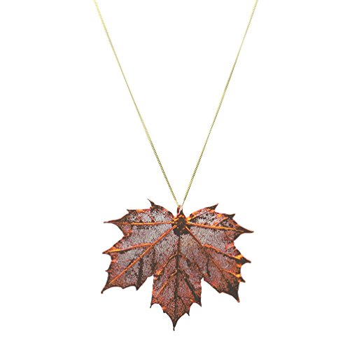 Joyful Creations Irridescent Copper-Plated Sugar Maple Leaf Pendant 18k Gold-Flashed Sterling Silver Chain 22