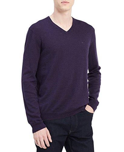 Calvin Klein Men's Merino Solid V-Neck Sweater, Purple Black Amethyst Mouline, - 6pm.com Returns