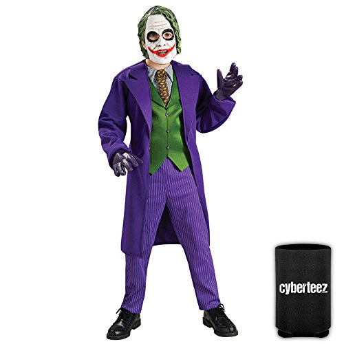 Youth Batman Costumes (Joker Boys Deluxe Child Kids Youth Batman Costume + Coolie (L))