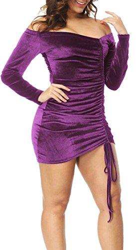 Dress Bodycon Cromoncent Velvet Long Bandage Sexy M Mini Club Purple Womens Sleeve wgzXrgFq