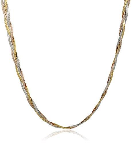 14k Three Gold Strand (14k Gold Tri-Color Italian 3-Strand Diamond Cut Braided Herringbone Necklace, 18