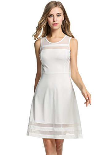 Hotouch Women's Sleeveless A-Line Flare Party Cocktail Dress White L