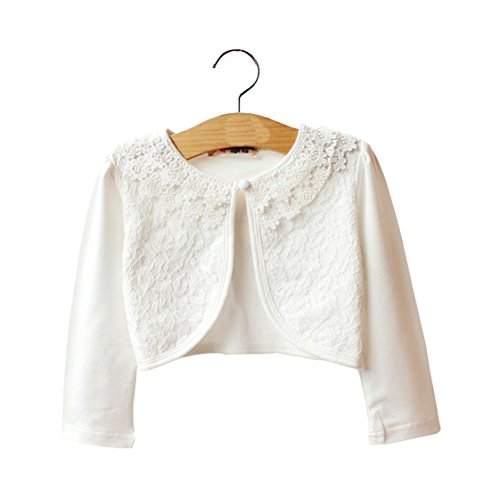 LiMeiW Child Shawl Cotton Lace Girl Air Conditioning shirtr Jacket Cardigan (2-3T, Ivory White)