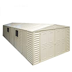 Duramax 01314 Vinyl Garage Shed with Foundation and Window, 10 by 23.5-Inch