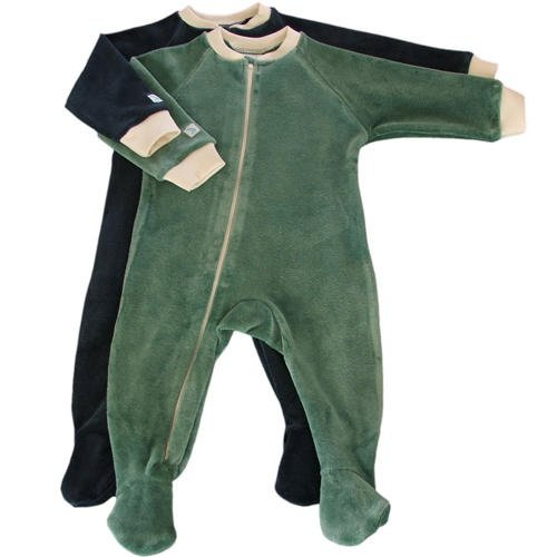 Organic Cotton Velour Footie - Made in the USA