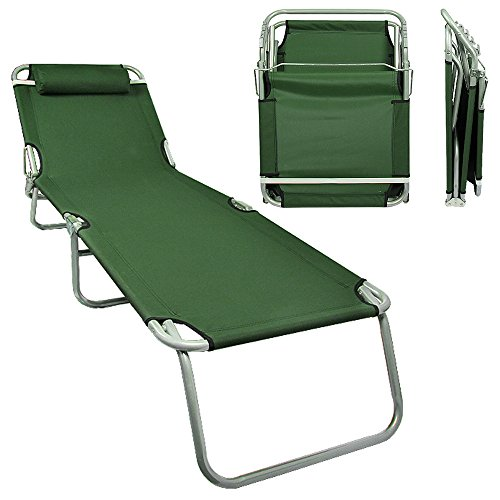 Flexzion Patio Lounge Chair Army Green - Portable Folding Chaise Bed for Outdoor Indoor Furniture Home Gargen Yard Pool Beach Camping Sleep SPA with Removable Pillow (Lounge Chair Sleeper)