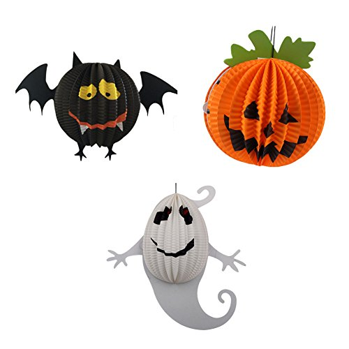 Halloween Lanterns Jack-O Bat Ghost Hanging Fold Up Lanterns Pendant with 6 LED Candles for Garden Yard Party Props Decorations Pack of 3 by (Halloween Decoratins)