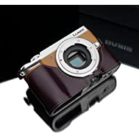 Gariz XS-CHGX85BR Genuine Leather Camera Metal Half Case for Panasonic Lumix GX85 GX80 GX7MKII, Brown