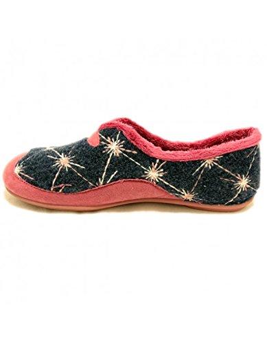 Zapatillas Vulca Bicha Azul Marino con estrellas de lana Rosas Azul Marino