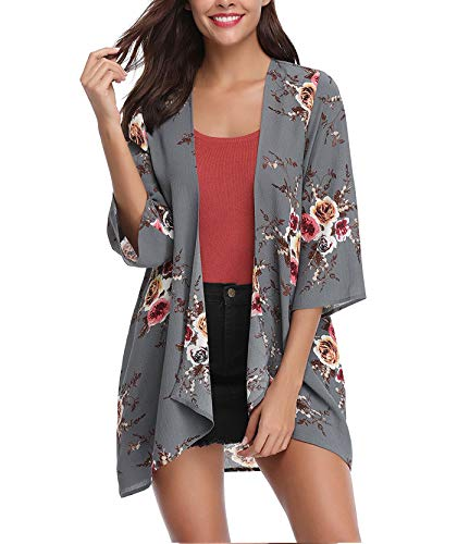 (Women's 3/4 Sleeve Floral Kimono Cardigan, Sheer Loose Shawl Capes, Chiffon Beach Cover-Up, Casual Blouse Tops (A41-gray, XX-Large))