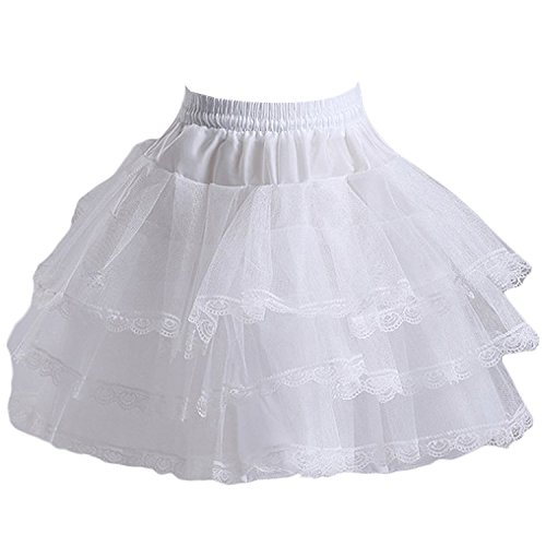 (SZMX Girls White Short Crinoline Petticoat 3 Layers Hoopless Children Underskirt Slips, White, One Size)