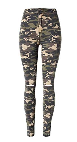 (Sweatwater Women Pencil Camouflage Skinny Denim Hole High Rise Jeans Pants Camo)