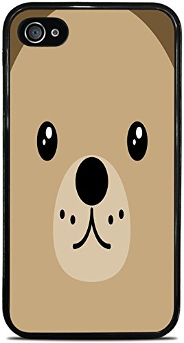 Cooliphone4Cases.com-2844-Teddy Bear Face Cute Black Silicone Case for iPhone 4 / 4S by Moonlight Printing-B01KW1KJSY-T Shirt Design