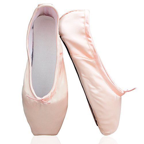 KUKEME-SHOP Girls Pointe Shoes Pink Ballet Shoe Leather Sole with Free Gel Silicone Toe Pads and Ribbons (US6 (Foot length:9.25 inch))