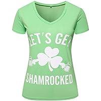 yangelo ST Patricks Day Green T Shirt Let's Get Shamrocked Women's V-Neck Tops Funny
