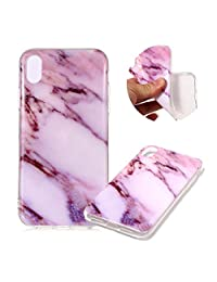 """Marble Patterns Design Cover for iPhone XR 6.1"""", MOIKY Slim Soft Skin Touch Protective in TPU Bumper Gel Case Anti-Scratch Shock Resistant Shell for iPhone XR 6.1"""" - Purple"""