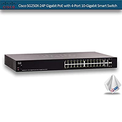 Cisco SG250X-24P Gigabit PoE with 4-Port 10-Gigabit Smart Switch (SG250X-24P-K9-NA)