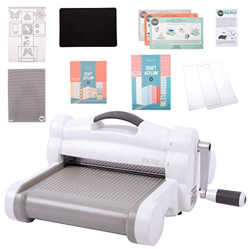 Sizzix Big Shot Plus Starter Kit Manual Die Cutting and Embossing Machine with Thinlits Plus and Bigz L Dies, Embossing Folder and Cardstock, 9 In (21 Cm) Opening