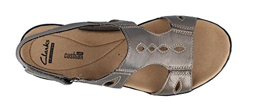 Clarks - Womens Leisa Lakelyn Sandal, Size: 8 C/D US, Color: Pewter Metallic Leather
