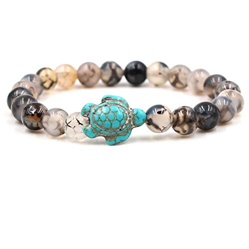 Reizteko Sea Turtle Beads Bracelets for Women Men Classic 8MM Blue Natural Stone Elastic Friendship Bracelet Beach Jewelry (Black Dragon Pattern)