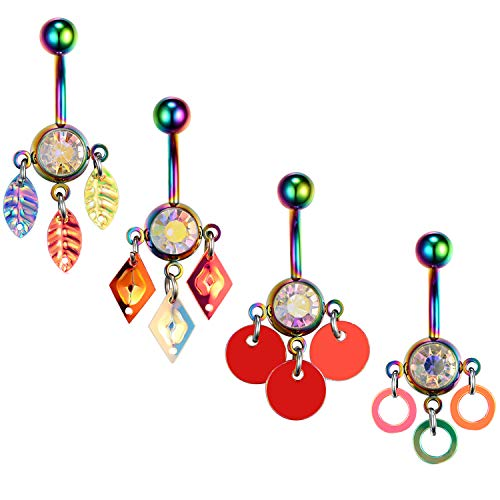 BodyJ4You 4PC Belly Button Rings Banana Rainbow Steel Bar 14G CZ Women Navel Body Piercing
