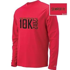 Brooks Marine Corps Marathon 10K Podium Long Sleeve T-Shirt Mens Red (XX-Large)
