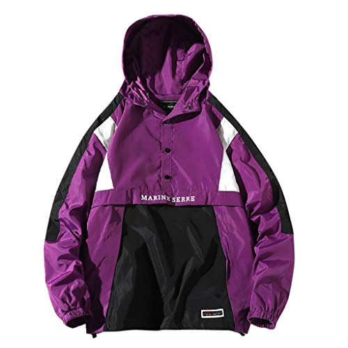 Mens Pullover Hooded Waterproof Lightweight Windbreaker Jacket Raincoat Outdoor Jacket Button-up Letter LIM&Shop Purple (Rain The Little Girl And My Letter)