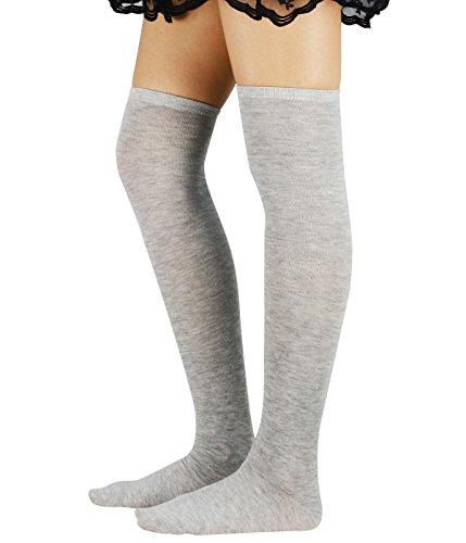 Zando Athlete Thin Stripes Thigh High Over Knee High Cosplay Socks for Women Grey