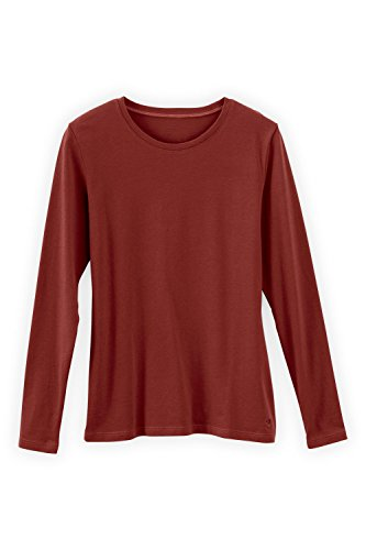 Fair Indigo Fair Trade Organic Essential Long Sleeve Crew Neck Tee (S, Auburn)