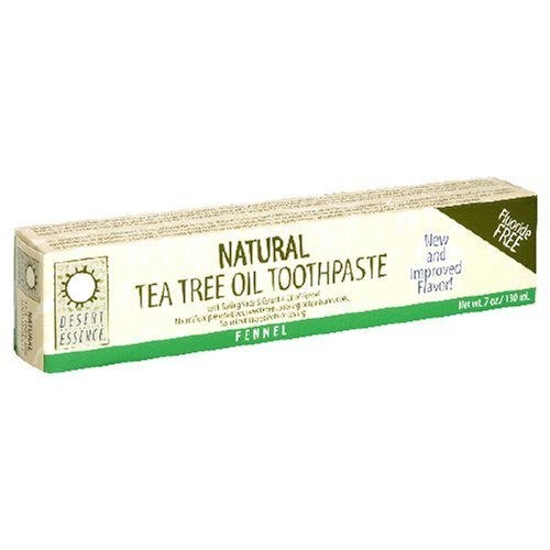 Desert Essence Natural Tea Tree Oil Toothpaste, Fluoride Free,  Fennel, With Baking Soda, 6.25-Ounces  (Pack of 3)