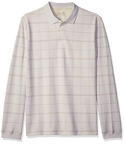 (Van Heusen Men's Flex Long Sleeve Jaspe Windowpane Polo Shirt, Silver Birch Plaid, Large)