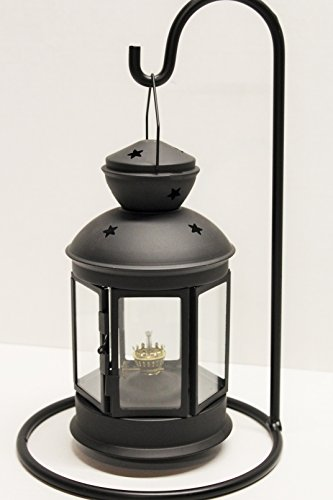 (Dietz Combo - Hexagon Oil or Tea Lamp Candle Lantern Convertible and Wrought Iron Lantern Holder)