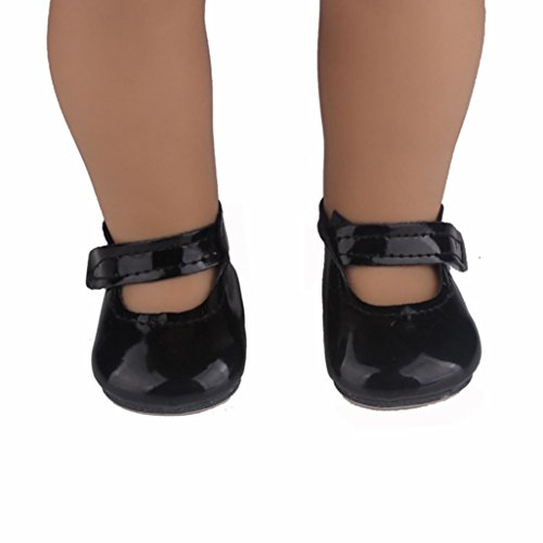 Digood For 18 Inch American Girl Doll Cute Beautiful Mary Jane Flat Shoes Accessories (Black) Dolls Black Mary Jane Shoes