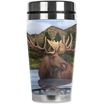Mugzie brand 16-Ounce Travel Mug with Insulated Wetsuit Cover Moose Pond