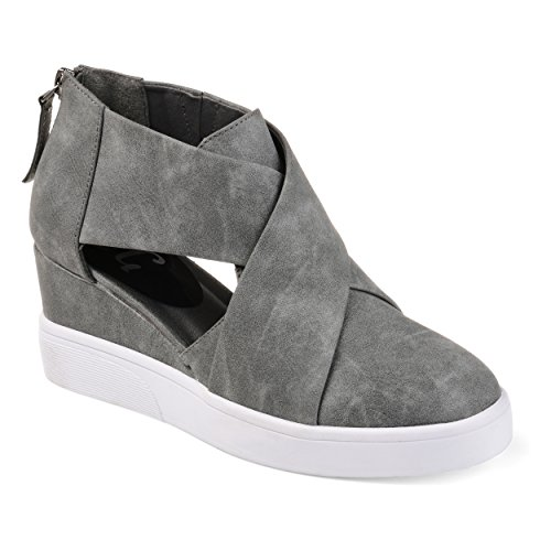 Journee Collection Womens Athleisure Criss-Cross D'Orsay Sneaker Wedges Grey, 10 Regular US