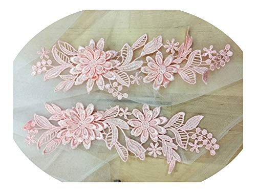 2Pairs Colors Flower 3D Lace Appliques Embroidery Patches Trim Lace Patches for Clothing Bridal Dress Decoration,Meat Pink