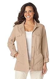 Women\'s Plus Size Sport Twill Utility Jacket New Khaki,4X