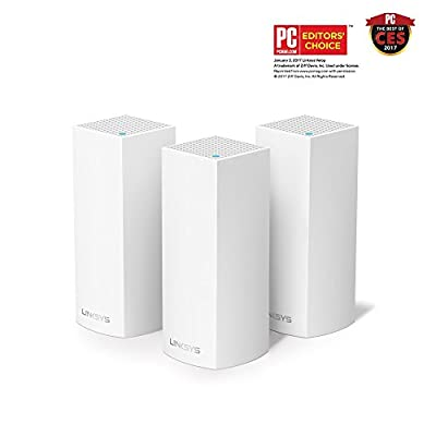Linksys Velop Tri-band AC6600 Whole Home WiFi Mesh System 3-Pack, Works with Amazon Alexa (WHW0303)